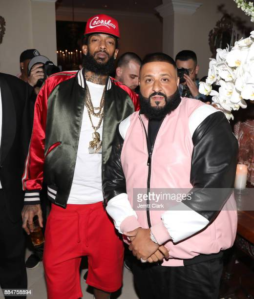 Nipsey Hussle and DJ Khaled attend The Four cast Sean Diddy Combs Fergie and Meghan Trainor Host DJ Khaled's Birthday Presented by CÎROC and Fox on...
