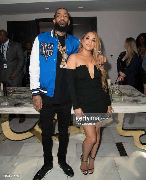 Nipsey Hussle and Lauren London attend Nipsey Hussle's Private Debut Album Release Party at The London West Hollywood at Beverly Hills on February 16...