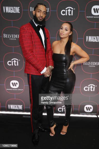 Nipsey Hussle and Lauren London attend the Warner Music PreGrammy Party at the NoMad Hotel on February 7 2019 in Los Angeles California