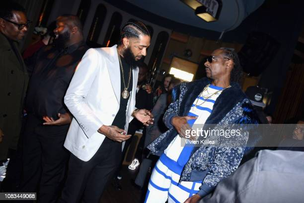 Nipsey Hussle and Snoop Dogg attend the PUMA x Nipsey Hussle 2019 Grammy Nomination Party at The Peppermint Club on January 16 2019 in Los Angeles...