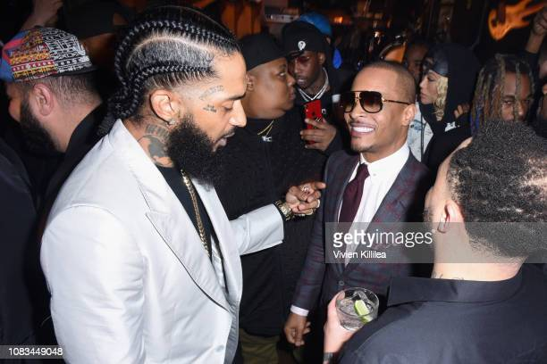 Nipsey Hussle and TI attend the PUMA x Nipsey Hussle 2019 Grammy Nomination Party at The Peppermint Club on January 16 2019 in Los Angeles California