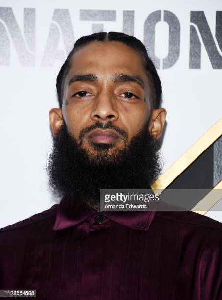Nipsey Hussle arrives at the 2019 Roc Nation THE BRUNCH on February 09 2019 in Los Angeles California