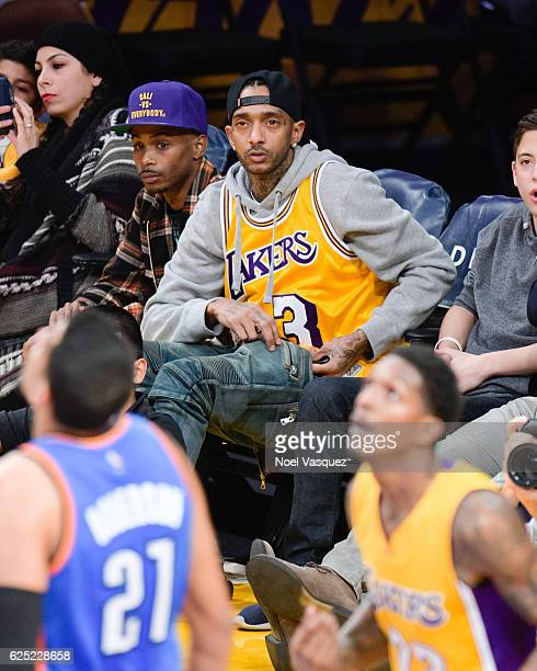 Nipsey Hussle attends a basketball game between the Oklahoma City Thunder and the Los Angeles Lakers at Staples Center on November 22 2016 in Los...