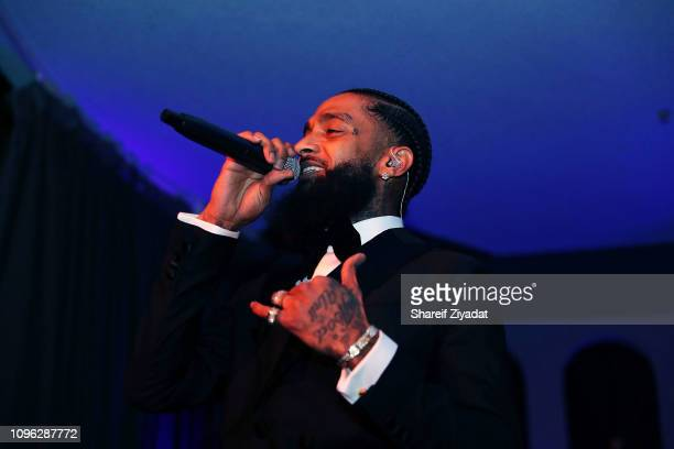 Nipsey Hussle attends Nipsey Hussle Grammy Celebration at The Peppermint Club on February 8 2019 in Los Angeles California