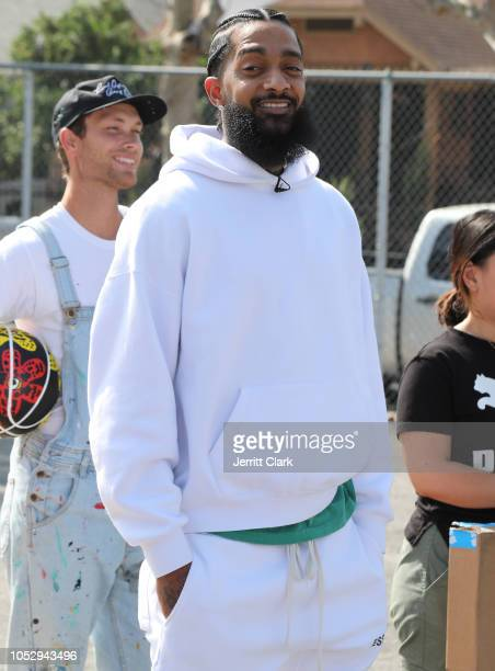 Nipsey Hussle attends Nipsey Hussle x PUMA Hoops Basketball Court Refurbishment Reveal Event on October 22 2018 in Los Angeles California