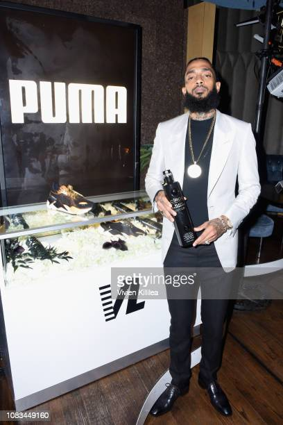 Nipsey Hussle attends the PUMA x Nipsey Hussle 2019 Grammy Nomination Party at The Peppermint Club on January 16, 2019 in Los Angeles, California.
