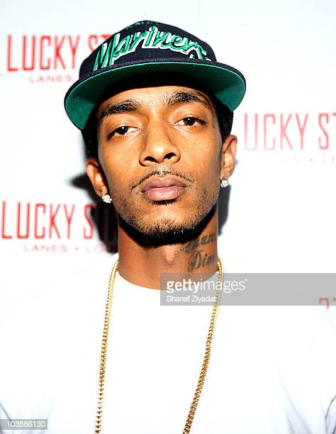 Nipsey Hussle attends the YRB Magazine Art Issue Release Party at Lucky Strike on August 23 2010 in New York City