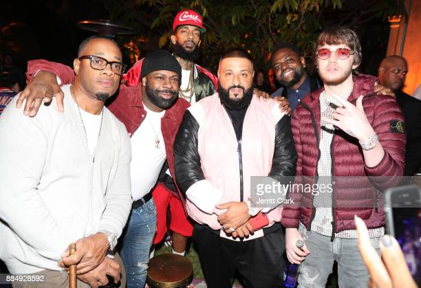 Nipsey Hussle DJ Khaled and Murda Beatz attend The Four cast Sean Diddy Combs Fergie and Meghan Trainor Host DJ Khaled's Birthday Presented by CÎROC...