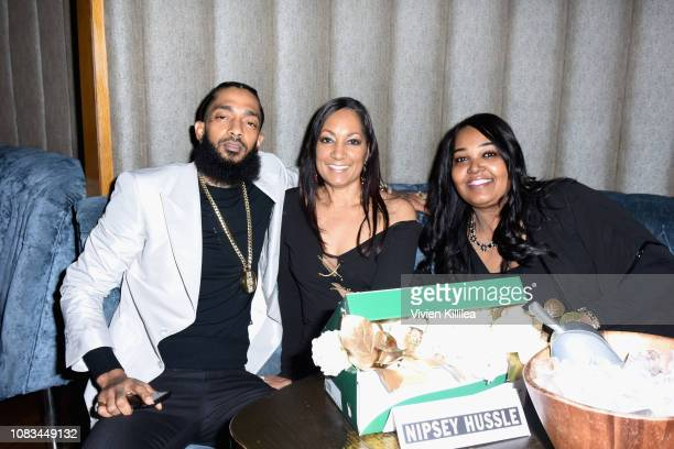 Nipsey Hussle his mother and his aunt attend the PUMA x Nipsey Hussle 2019 Grammy Nomination Party at The Peppermint Club on January 16 2019 in Los...