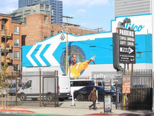 Nipsey Hussle memorial is seen in downtown on April 22 2019 in Los Angeles California