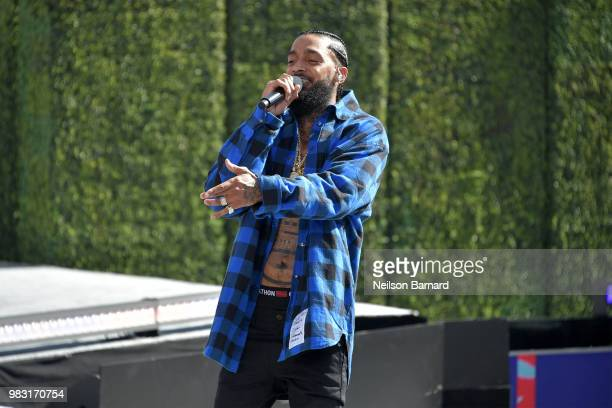Nipsey Hussle performs onstage at Live Red Ready PreShow sponsored by Nissan at the 2018 BET Awards at Microsoft Theater on June 24 2018 in Los...