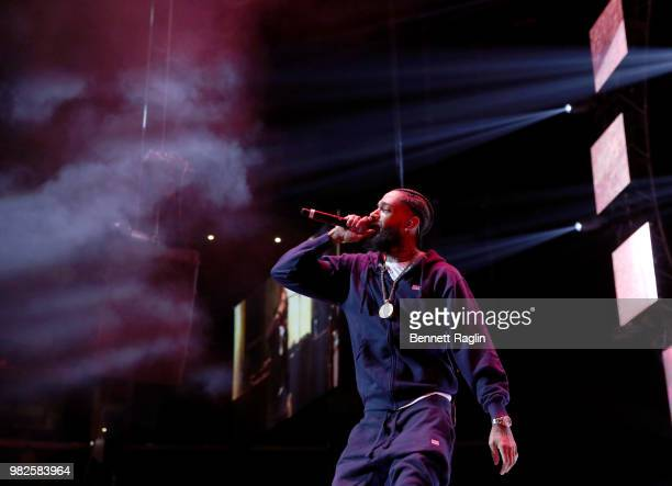 Nipsey Hussle performs onstage at the STAPLES Center Concert Sponsored by SPRITE during the 2018 BET Experience on June 23 2018 in Los Angeles...