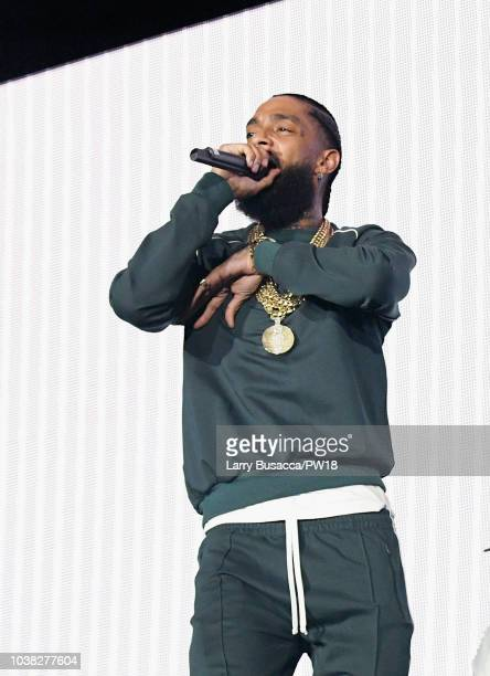 Nipsey Hussle performs onstage during the 'On The Run II' Tour at Rose Bowl on September 22 2018 in Pasadena California