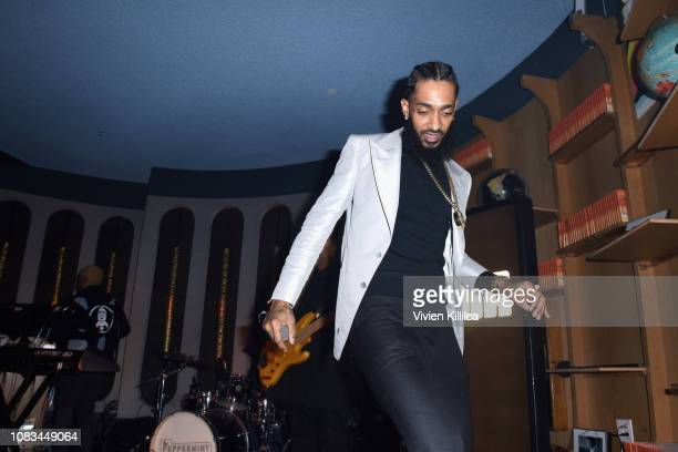 Nipsey Hussle steps offstage during the PUMA x Nipsey Hussle 2019 Grammy Nomination Party at The Peppermint Club on January 16 2019 in Los Angeles...