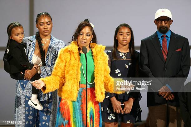 Nipsey Hussle's family Kross Ermias Asghedom Samantha Smith Angelique Smith Emani Asghedom and Dawit Asghedom accept the Humanitarian Award in honor...