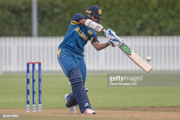 Nipun Malinga of Sri Lanka bats during the ICC U19 Cricket World Cup match between Sri Lanka and Afghanistan at Cobham Oval on January 17 2018 in...