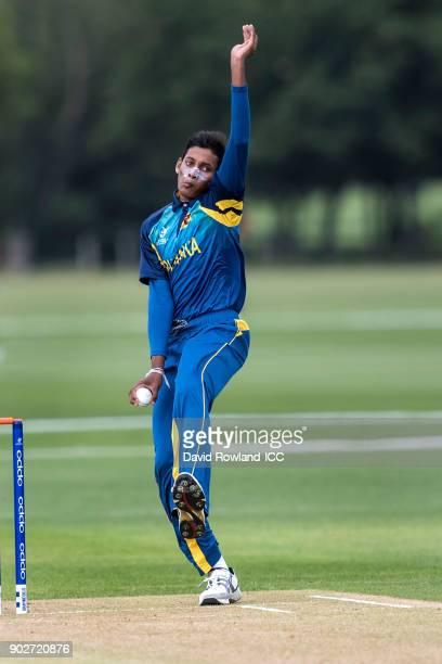 Nipun Malinga of Sri Lanka bowls during the ICC U19 Cricket World Cup Warm Up match between Sri Lanka and Australia at Hagley Park on January 9 2018...