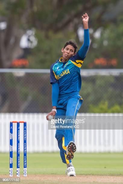 Nipun Malinga of Sri Lanka bowls during the ICC U19 Cricket World Cup match between Sri Lanka and Afghanistan at Cobham Oval on January 17 2018 in...