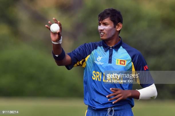 Nipun Malinga of Sri Lanka looks on during the ICC U19 Cricket World Cup Plate Final match between Sri Lanka and the West Indies at Bert Sutcliffe...