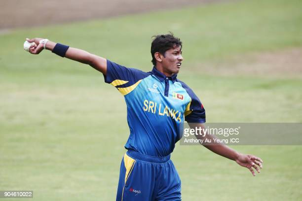 Nipun Malinga of Sri Lanka prepares to bowl during the ICC U19 Cricket World Cup match between Sri Lanka and Ireland at Cobham Oval on January 14...