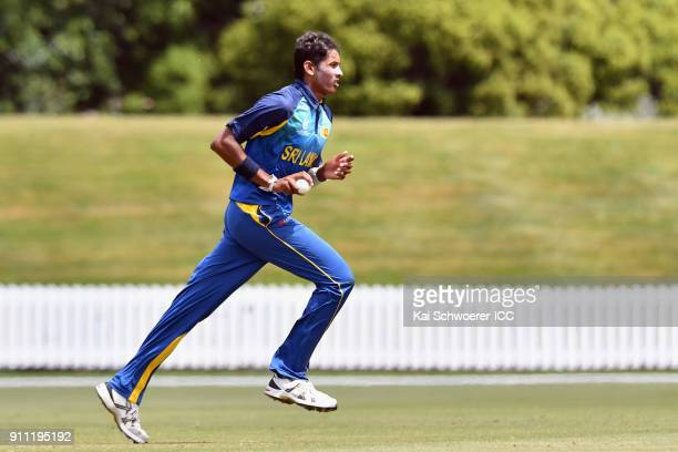 Nipun Malinga of Sri Lanka runs in to bowl during the ICC U19 Cricket World Cup Plate Final match between Sri Lanka and the West Indies at Bert...