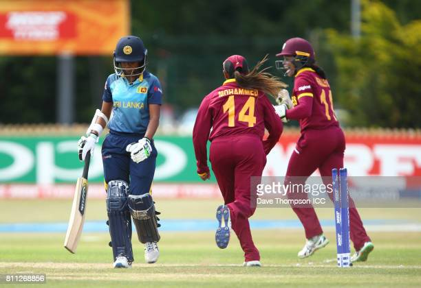 Nipuni Hansika of Sri Lanka leaves the field after being bowled out during the ICC Women's World Cup match between West Indies and Sri Lanka at The...