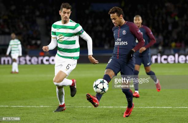 Nir Bitton of Celtic and Neymar of Neymar of PSG in action during the UEFA Champions League group B match between Paris SaintGermain and Celtic FC at...