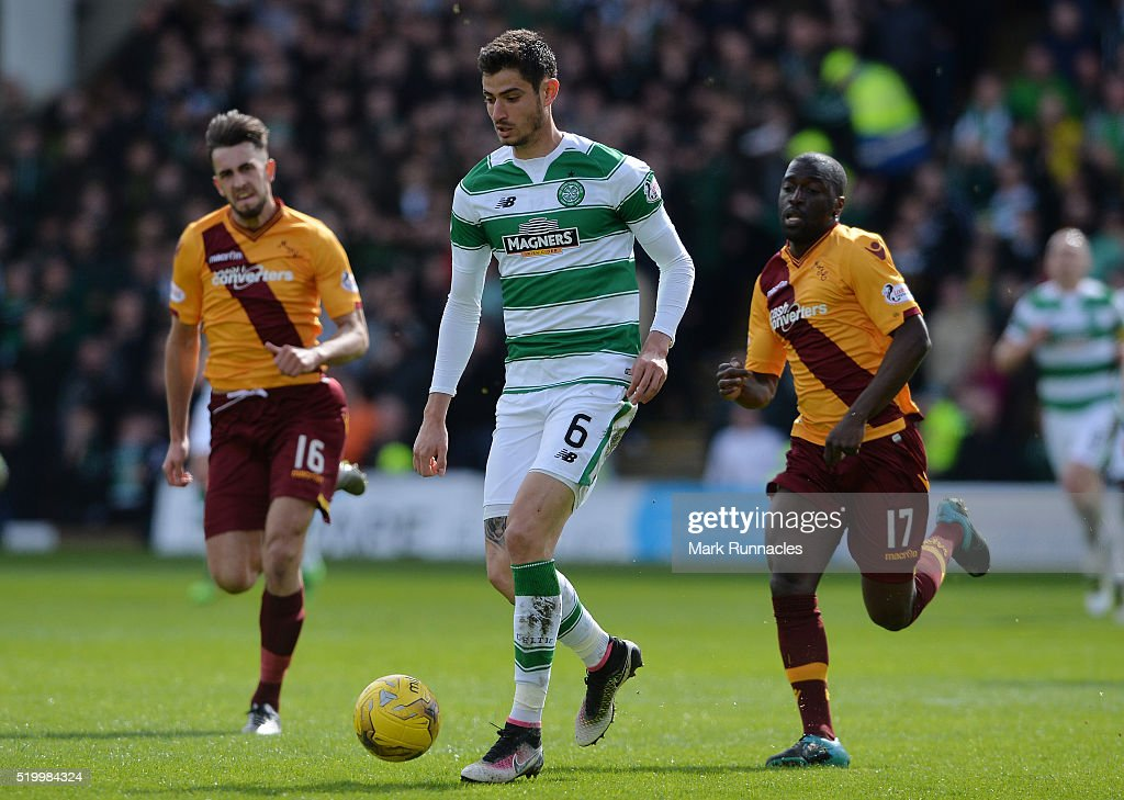 Nir Bitton of Celtic breaks free of Morgaro Gomis and Kieran Kennedy of Motherwell in the second half during the Ladbrokes Scottish Premiership match between Celtic FC and Motherwell FC at Fir Park on April 9, 2016 in Glasgow, Scotland.