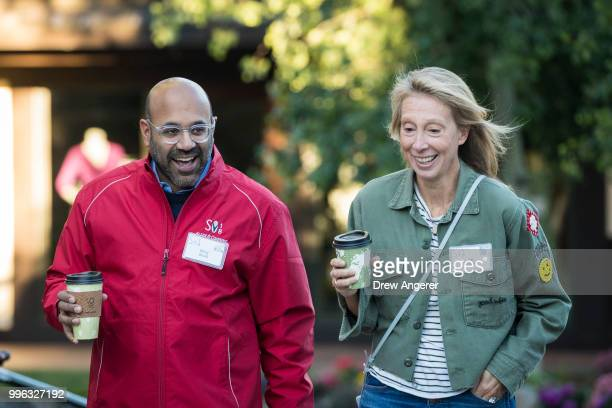 Niraj Shah chief executive officer of Wayfair and his wife Jill Shah arrive for a morning session of the annual Allen Company Sun Valley Conference...