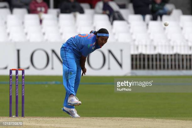 Niranjana Nagarajana of India bowling during the First One Day International between England Women and India Women at Scarborough CC, North Marie...