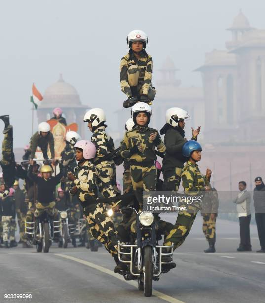 Nirbhaya BSF Women Bikers of Team Janbaaz on their first day of rehearsal at Vijay Chowk on January 9 2018 in New Delhi India This is the first time...