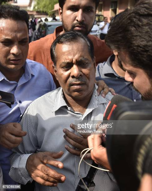Nirbhaya's father surrounded by journalists after the Supreme Court pronounced verdict on the appeals filed by four death row convicts against death...