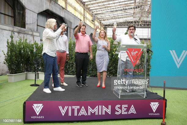 Steve Pagliuca and Tom McAlpin host Virgin Voyages Unveils Vitamin Sea with Sir Richard Branson on July 20 2018 in Genoa Italy