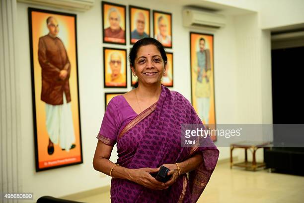 Nirmala Sitharaman, BJP spokesperson at party Headquarters, poses for a profile shoot during an interview at her residence on March 28, 2014 in New...