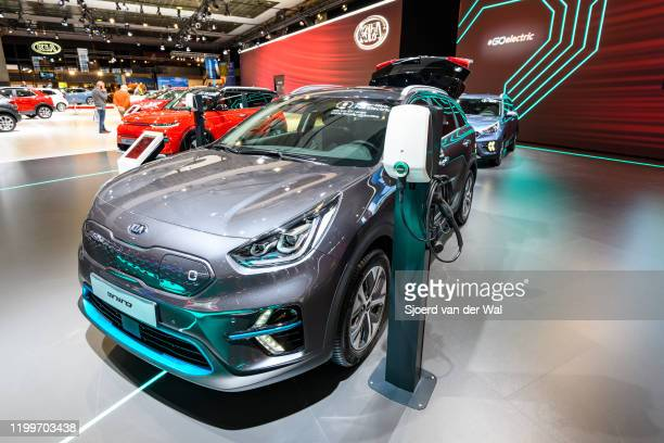 Niro EV all electric subcompact crossover on display at Brussels Expo on January 9, 2020 in Brussels, Belgium.