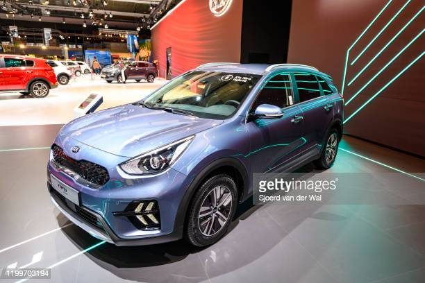Niro hybrid subcompact crossover on display at Brussels Expo on January 9, 2020 in Brussels, Belgium.