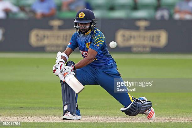 Niroshan Dickwella of Sri Lanka A sweeps for four runs during the Royal London OneDay match between England Lions and Sri Lanka A at The Spitfire...