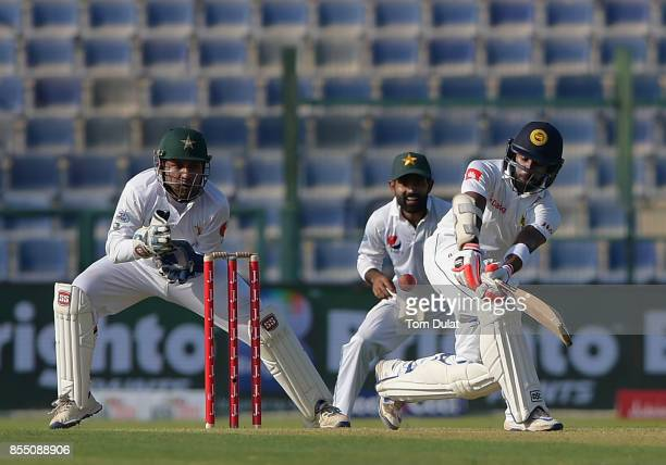 Niroshan Dickwella of Sri Lanka bats during Day One of the First Test between Pakistan and Sri Lanka at Sheikh Zayed Stadium on September 28 2017 in...