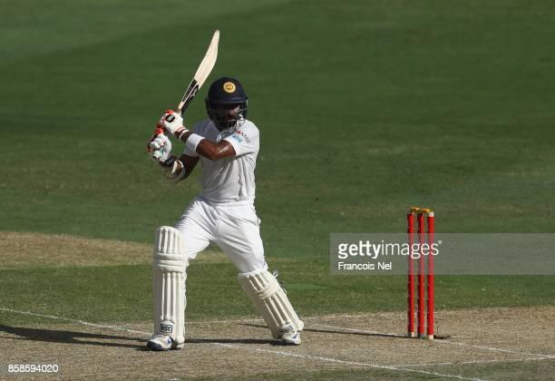 Niroshan Dickwella of Sri Lanka bats during Day Two of the Second Test between Pakistan and Sri Lanka at Dubai International Cricket Ground on...
