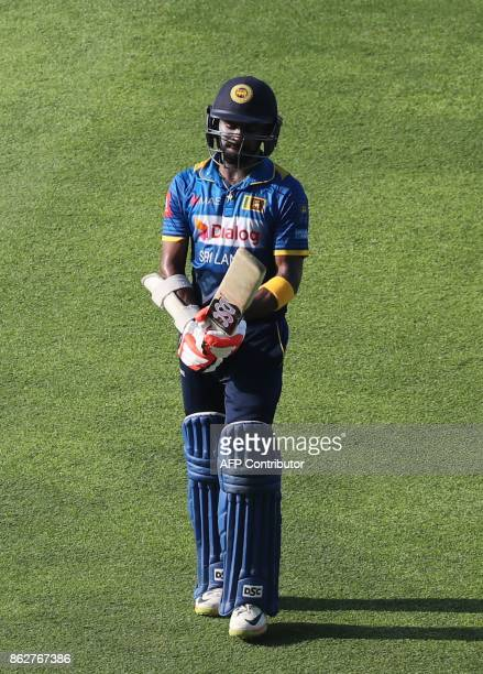 Niroshan Dickwella of Sri Lanka leaves the field during the third one day international match between Pakistan and Sri Lanka in Abu Dhabi at Zayed...