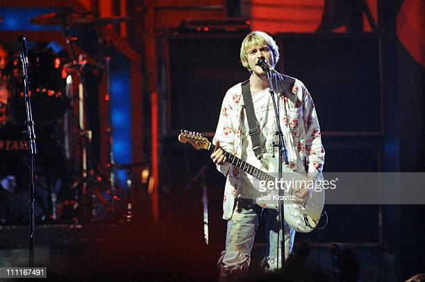 Nirvana during 1992 MTV Video Music Awards Rehearsals at Pauley Pavilion in Los Angeles California United States