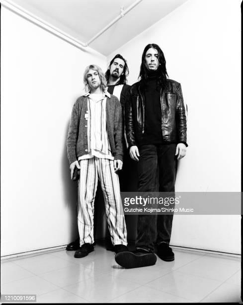 Nirvana, group portrait, backstage at Nakano Sunplaza, Tokyo, Japan, 19th December 1992. Kurt Cobain, Krist Novoselic, Dave Grohl.