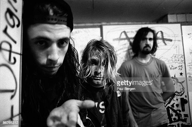 Nirvana posed in Frankfurt on November 12 1991 Dave Grohl Kurt Cobain and Krist Novoselic