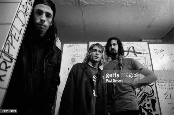 Nirvana posed in Frankfurt on November 12 1991 Dave Grohl Kurt Cobain and Krist Novoselic