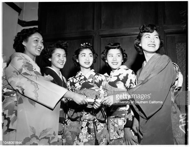 Nisei Queen visits LA Examiner 20 August 1951 Tazuko Alice Yamamoto 25 yearsKiki [Kiku] Kay Fujihara 20 yearsAiko Ogomori 19 years Susie Yamashita 19...
