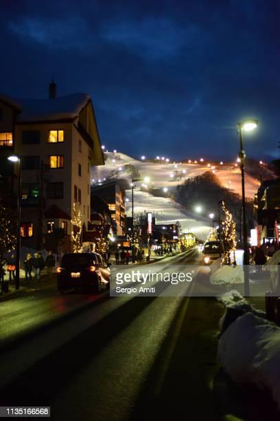 Niseko Hirafu ski slopes at night