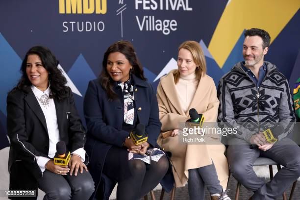 Nisha Gantra, Mindy Kaling, Amy Ryan, and Reid Scott of 'Late Night' attend The IMDb Studio at Acura Festival Village on location at the 2019...