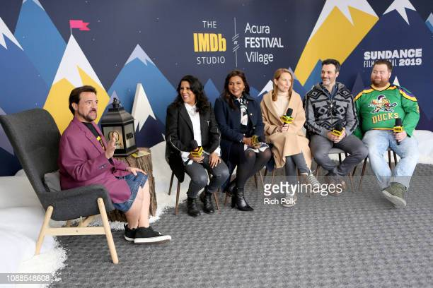 Nisha Gantra Mindy Kaling Amy Ryan Reid Scott and Paul Walter Hauser of 'Late Night' and Kevin Smith attend The IMDb Studio at Acura Festival Village...