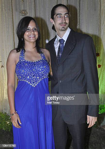 Nisha Harale and Adam Bedi during actor Vivek Oberoi's wedding reception in Mumbai on October 31 2010