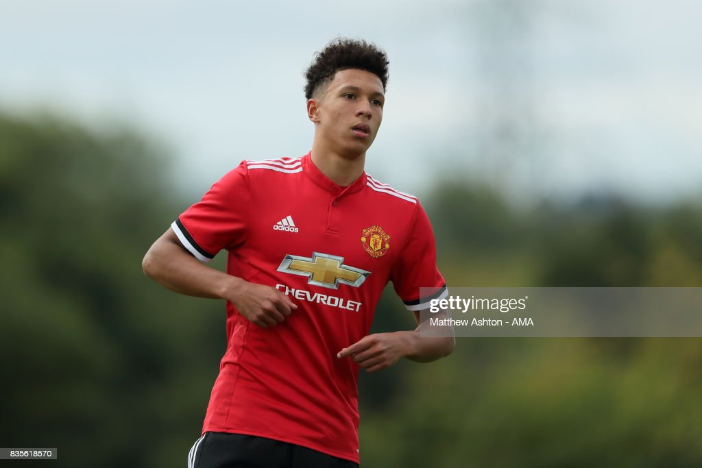 Nishan Burkart of Manchester United during the U18 Premier League match between West Bromwich Albion and Manchester United on August 19, 2017 in West Bromwich, England.